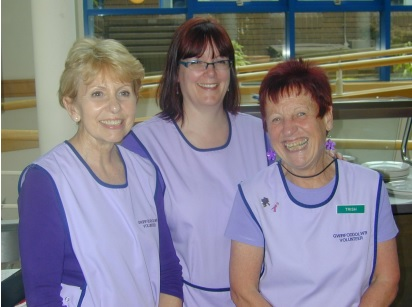 From the left, day centre Volunteers Gaynor Williams, Sharon Walters and Trish Thomas